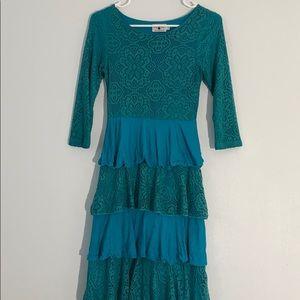 Dainty Jewells Teal Ruffle Dress
